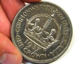 1937 AUSTRALIAN ONE CROWN   92.5 % SILVER   OP852a