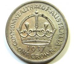 1937 AUSTRALIAN ONE CROWN   92.5 % SILVER   OP855
