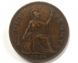 Great Britain (UK) One Penny Bronze Coin  1946 OP74