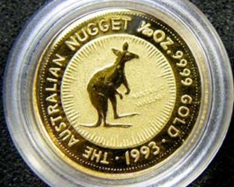 THE AUSTRALIAN NUGGET  1993 1/20 OUNCE 0.9999 PURE GOLD