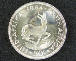 SILVER COIN SOUTH AFRICA  1964  .50 CENTS    OP877