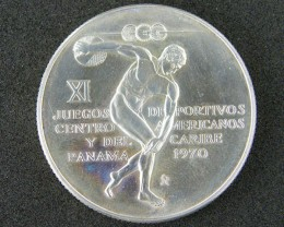 SILVER COIN PANAMA  1970 5 BALBOAS  OP 881