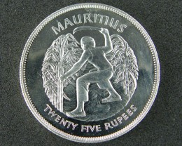 SILVER COIN MAURITIUS 25 RUPEES 1977   OP 882