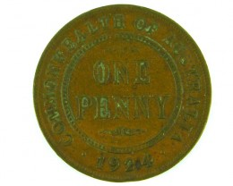 one penny 1924 with die crack through australia  op 905