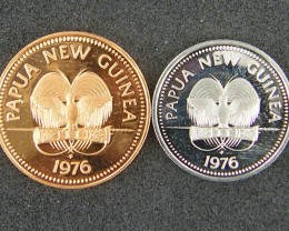 UNC  PAPUA NEW GUINEA    1976  2T AND 5 T     OP949
