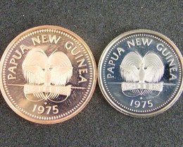 UNC  PAPUA NEW GUINEA    1975  5T AND 2 T COINS     OP951