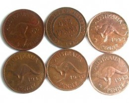 PARCEL OF 6 ONE PENNY COINS   OP 100