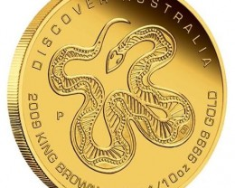 Discover Australia 2009 Dreaming–King Brown Snake 1/10oz
