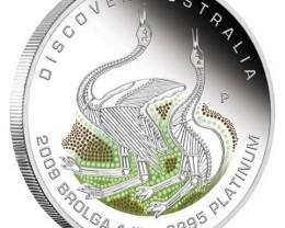 Discover Australia 2009 Dreaming  Brolga 1/2oz PLATINUM