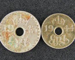 PAPUA NEW GUINEA   1943 SIX PENCE ,1944 THREE PENCE  OP976