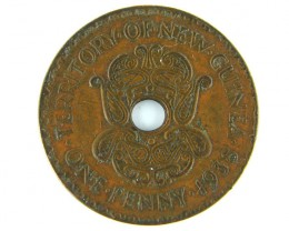 PAPUA NEW GUINEA   ,ONE PENNY  1938 OP 992