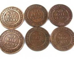 PARCEL OF 6 HALF  PENNY COINS   OP 105