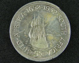 SOUTH AFRICA  1952     5 SHILLINGS  SILVER  OP 1005