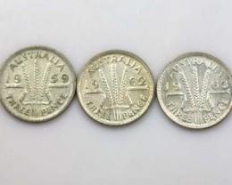 three Pence 1959,1962,1963  80% SILVER   op8