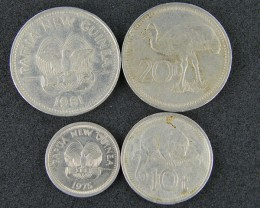 FOUR PAPUA NEW GUINEA  COINS 1970-80S     OP 10