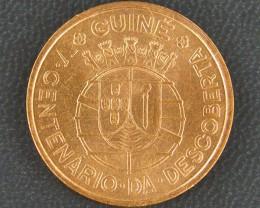 UNC PORTUGUESE GUINEA 1 ESCUDO 1946 COIN      OP 926