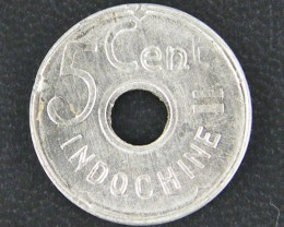UNC INDO CHINA 5 CENTS 1943  COIN      OP 914