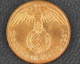 UNC NAZI GERMAN 1 REICHAPFENNIG, 1937    OP 938
