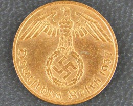 UNC NAZI GERMAN 1 REICHAPFENNIG, 1937    OP 936
