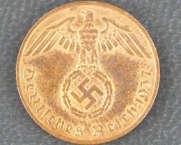 UNC NAZI GERMAN 1 REICHAPFENNIG, 1937    OP 9340