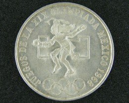 MEXICO 25 CENT  1968  SILVER COIN   OP 945