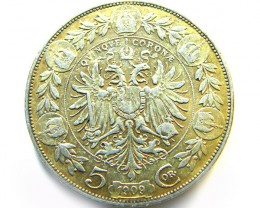 AUSTRIAN SILVER COIN FROM 1909  5 CROWN OP 962