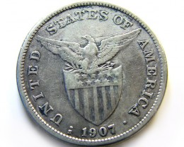 1907 PHILIPPINE SILVER CROWN    VF  OP 972
