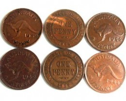 PARCEL OF 6 ONE PENNY COINS   OP 99