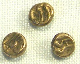 3 INDIA GOLD COIN MED PURITY FANAMS 17-18TH CENTUARY OP 1034