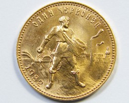 MS-65  1982 RUSSIAN GOLD CHERVONETZ  GOLD COIN OP 1086