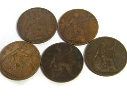 PARCEL 4 ONE PENNY COINS 1901- 1920  J6