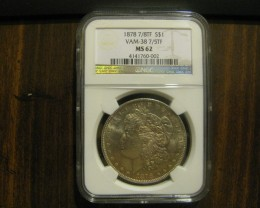 1878 7/8TF VAM-38 7/5TF MS62 Morgan Error Silver Dollar