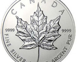 1990 Canadian Silver Maple Leaf 1oz 999.9 Fine Silver