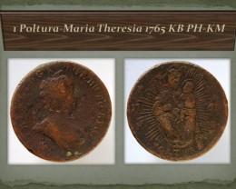 Hungary 1 Poltura-Maria Theresia 1765 KB PH-KM (KM#377)