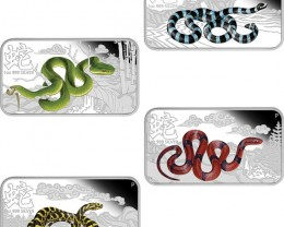 FREE SHIPPING LUNAR YEAR OF THE SNAKE 4 ONE OUNCE SILVER COINS
