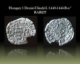 Hungary Silver 1 Denár-Ulászló I. 1440-1444 B-n* EH#475 Rare