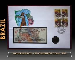 Brazil 100 Cruzeiros + 20 Cruzeiros Coin 1983 UNC