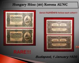 Hungary Húsz (20) Korona 1920 (Piece:2) AUNC RARE!!!