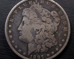 1897 MORGAN DOLLAR SILVER COIN   CO 1600