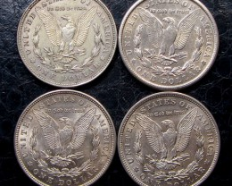 1921    FOUR  PEACE DOLLAR SILVER COINS   CO1608
