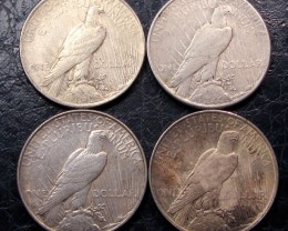 1922-23   FOUR  PEACE DOLLAR SILVER COINS   CO1612
