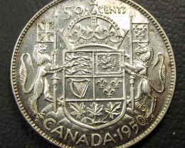 1950  CANADIAN .50 CENT SILVER COIN  CO 1635
