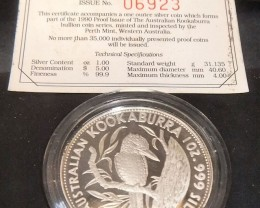 RARE 1st PROOF Issue 1990 Silver Kookaburra 5 Dollar coin