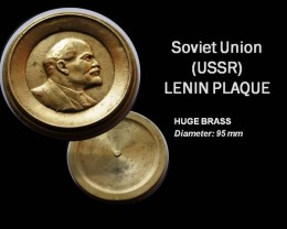 RARE Huge Brass Lenin Plaque