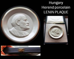 "Hungary  ""HEREND""!!! porcelain Lenin Plaque + Box"