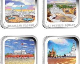 PM World Famous Squares 2013 1oz Silver Proof Four-Coin Set