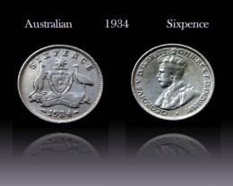 Australian silver Sixpence 1934