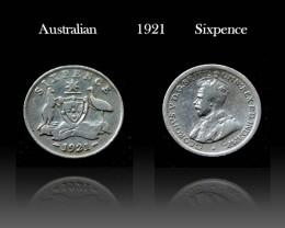 Australian silver Sixpence 1921