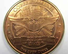 ONE OUNCE COPPER USA 2012 IN SILVER PENDNAT  CO 1650