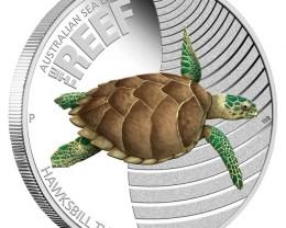 Sea Life II - The Reef - Hawksbill Turtle  1/2oz silver/proOF